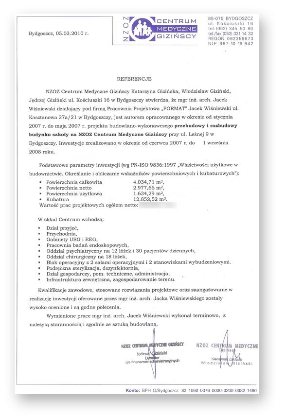 Referencje dla architekta Jacka Wiśniewskiego - projekt centrum medycznego w Bydgoszczy